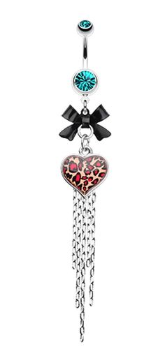 Leopard Heart Bow-Tie Belly Button Ring - 14 GA (1.6mm) - Teal - Sold Individually