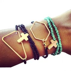 Arm Party Stack of Bracelets, Cross and Geometric