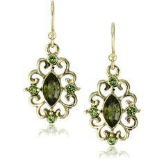 1928 Jewelry Swirly Antique Filigree Earrings - $14.00
