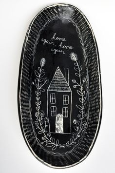 "Oval ""Home Again"" Folk Series Plate. $30.00, via Etsy."