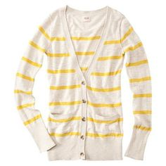 yellow and heather white striped cardigan Cute Cardigans, Sweaters For Women, Sweater Shirt, Sweater Outfits, Cute Outfits, Pink Sweater, Boyfriend Cardigan, Vogue
