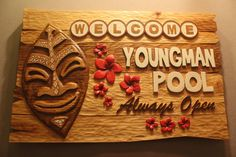 PERSONALIZED POOL SIGN | tiki bar signs | tropical decor sign | custom wood signs | hand carved signs | hand made signs | family name signs by FoxWoodSigns on Etsy https://www.etsy.com/listing/480071116/personalized-pool-sign-tiki-bar-signs