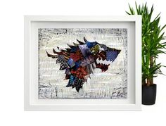 Game of Thrones Poster wall art, #Stark House #Crest art print, #Mixed media…