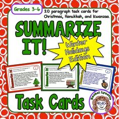 Summarizing task cards are an excellent addition to your centers or to your classroom games. This set of summarizing task cards features a winter holidays theme covering Christmas Hanukkah and Kwanzaa. Plus they're free! Summarizing Activities, Reading Activities, Therapy Activities, Reading Strategies, Reading Comprehension, Comprehension Strategies, Reading Skills, 6th Grade Reading, Classroom Games