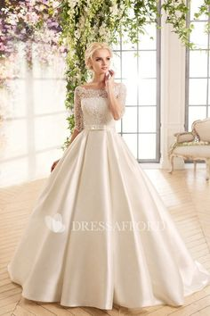 Satin Wedding Dresses Cheap Boat Neck White Ivory Lace Top Wedding Dress With Sleeves 2016 A Line Satin Bow Bridal Wedding Gowns Robe De Mariage Western Wedding Dresses, Top Wedding Dresses, Bridal Dresses, Wedding Gowns, Lace Wedding, Wedding Wear, Wedding Corset, Bridesmaid Dresses, Wedding Belts