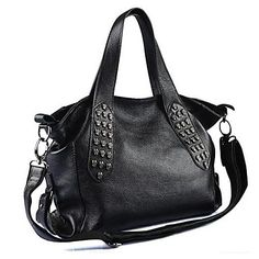 Women's Large Skull Rivet Real Genuine Leather Tote Shoulder Messenger Bag