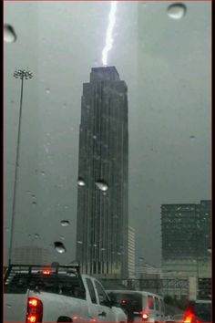 Lightning strike to the Williams Tower in the Galleria area of Houston, Texas. Awesome