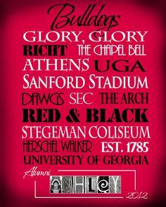 University of Georgia Bulldogs print
