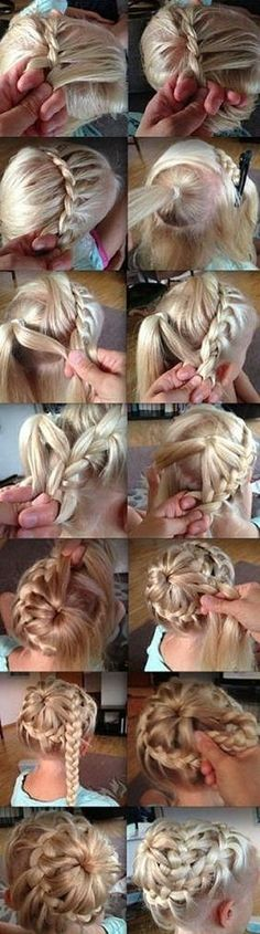 hair styles for long hair.this looks sooo complicating but cute :)