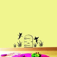 Fairy Door with fairies vinyl wall decal Kids room girls baby nursery wall Art. $9.60, via Etsy.