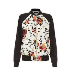 Sewing inspo: Floral Contrast Sleeve Bomber Jacket by New Look