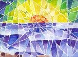 Watercolor-fractured landscapes- nice idea to build from