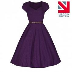 'Victoria' Purple Jacquard Swing dress Sweetheart Neckline, nice full skirt