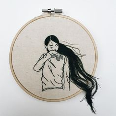 Hand-Sewn Hairstyles That Cascade From Embroidered Hoops by Sheena Liam | Colossal