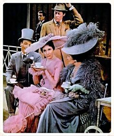 Julie Andrews and Rex Harrison on stage in the tea scene from MY FAIR LADY.