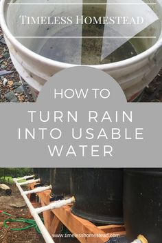 How to Turn Rain Water into Usable Water. Learn how to turn rain water into usable water for homestead use. Easy DIY instructions with step by step details. Homestead Survival, Camping Survival, Emergency Preparedness, Survival Tips, Survival Skills, Water Survival, Water Collection, Rainwater Harvesting, Urban Homesteading