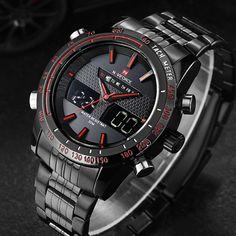 men watches NAVIFORCE 9024 full steel luxury brand Quartz digital LED