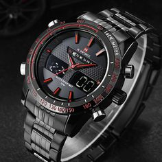 men watches NAVIFORCE 9024 full steel luxury brand Quartz digital LED