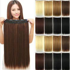 23inch 58 CM 145g Women Synthetic 3/4 Full Head Clip In Hair Extensions Straight Hairpiece Halloweek Hair - http://mixre.com/23inch-58-cm-145g-women-synthetic-34-full-head-clip-in-hair-extensions-straight-hairpiece-halloweek-hair/ #HairExtension