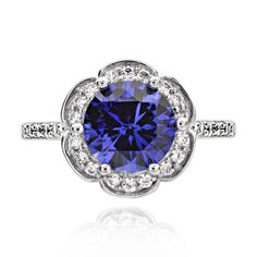 FD Sterling Silver 2ct Round Created Blue Sapphire and Cubic Zirconia Halo Ring