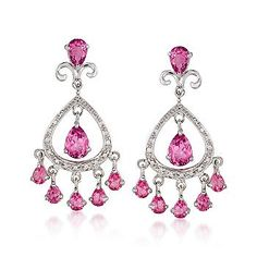 Look and feel pretty in pink with these Pink Topaz With Diamond Chandelier Earrings. >>Click on the Pink Topaz jewelry to explore your options at Ross-Simons.