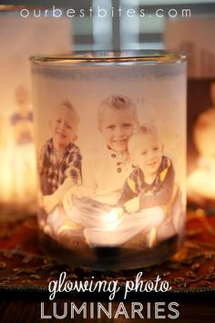 Glowing Photo Luminaries:  A quick, easy, and inexpensive way to light up your favorite people! Tutorial from Our Best Bites.
