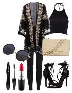 negro 01 by sgb007 on Polyvore featuring moda, Melissa Odabash, Polo Ralph Lauren, Schutz, Chanel, MAC Cosmetics and Lancôme