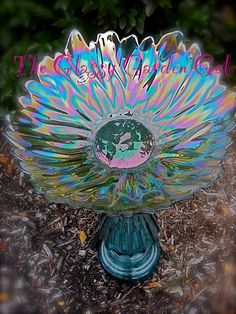 Glass Bird Bath, Glass garden art, yard art, repurposed recycled up cycled glass, unique garden . Glass Garden Flowers, Glass Plate Flowers, Glass Garden Art, Flower Plates, Glass Art, Art Flowers, Garden Totems, Garden Fountains, Garden Stakes