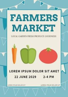 A creative template for a grand opening poster. A light blue background with illustrations of vegetables and blue text displaying farmers market.