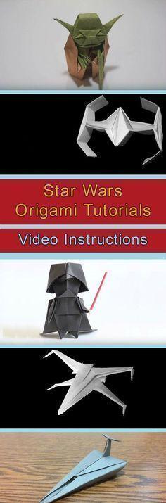 Star Wars Origami Tutorials Video Instructions More – DIY Paper Diy Origami, Origami Plane, Origami And Kirigami, Origami Paper Art, Useful Origami, Origami Tutorial, Diy Paper, Paper Crafts, Oragami