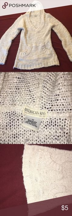 """⭐️Sweater with hood by American Rag Size XS hooded sweater. It looks worn but I'm not sure if """"that's the look"""" but there are no holes or snags Sweaters"""