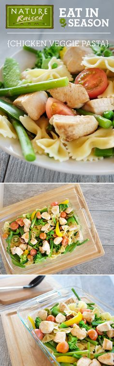 Get the most flavor out of every dish by including veggies that are in season like this Chicken Veggie Pasta Salad! Made with NatureRaised Farms® Chicken Breast, bowtie pasta, asparagus, sliced peppers, tomatoes, and broccoli. | NatureRaised Farms Recipe