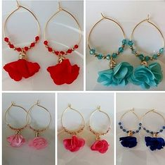Diy Thread Earrings, Beaded Earrings Patterns, Diy Earrings, Leaf Jewelry, Fabric Jewelry, Jewelry Crafts, Beaded Jewelry, Homemade Jewelry, Diy Jewelry Making