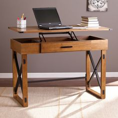 This Harper Blvd lift-top desk offers hidden office storage with the gentle lift of the spacious writing surface, as well as switches from a sitting to a standing desk in seconds. Distressed pine fini                                                                                                                                                                                 More