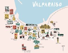 Sophie Wainwright An illustrated map of some great spots in Valparaiso, Chile in South America. Casablanca, South America Map, Latin America, Central America, Patagonia, Chili, Travel Maps, Future Travel, Cool Places To Visit