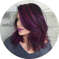 """Dimensional deep purple color melt. Chopped off ATLEAST 5 inches and Reshaped her haircut. Giving her a subtle under cut though her perimeter. Styled her…"""