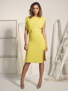 Rochelle Humes, 26, displays her enviable curves as she showcases her latest colour-popping fashion range for Very.co.uk -her eighth for the e-tailer