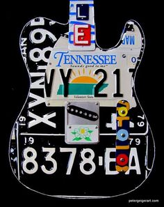 Guitar-Art Unique Guitars, Custom Guitars, Music Guitar, Cool Guitar, Painted Guitars, License Plate Art, Guitar Photos, Guitar Painting, Banjos