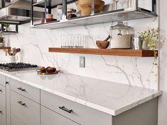 35 Gorgeous Kitchen Backsplash Ideas With Granite - Kitchen White Granite Countertops, Backsplash For White Cabinets, Outdoor Kitchen Countertops, Granite Kitchen, White Kitchen Cabinets, Kitchen Backsplash, Diy Kitchen, Kitchen Decor, Backsplash Ideas
