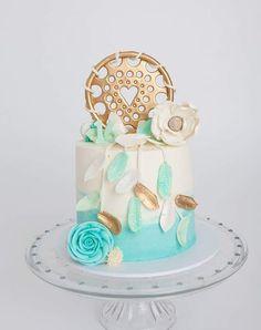 Dream Catcher Cake 16 Birthday Cake, Baby Girl First Birthday, Dream Catcher Cake, Bohemian Cake, Beautiful Cake Designs, Gravity Defying Cake, Beautiful Birthday Cakes, Mermaid Cakes, Cute Desserts