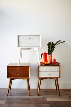 Inspired by mid-century design, the Mid-Century Nightstand borrows its slim legs, angled face and understated retro details from iconic and furniture silhouettes. West Elm Mid Century, Mid Century Bed, Mid Century Dresser, Mid Century Modern Bedroom, Mid Century House, Mid Century Modern Furniture, Mid Century Modern Side Table, 60s Furniture, Furniture Design