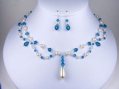 Bridesmaid Jewelry Set Teal Bridesmaids Necklace Set Prom Necklace and Earrings Blue Zircon Swarovski Crystal and Teardrop Pearl Linda on Etsy, $85.00