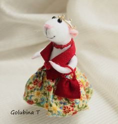 Wool Felted mouse Felt ballerina mouse Needle by WorkshopTatyanas