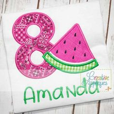 watermelon-birthday-eight-8-eighth-number-applique $ REPIN THIS then click here: https://creativeappliques.com/