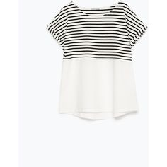 Zara Stripes And Poplin T-Shirt ($9.99) ❤ liked on Polyvore featuring tops, t-shirts, shirts, tees, striped, striped t shirt, zara shirts, stripe t shirt, striped shirt and white tops