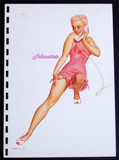 George Petty 1941 Esquire October Pin-up Girl Sexy Blonde Calling You on phone in Pink Lingerie Nightie Erotic Pinup Calendar Art Print! by Admatter on Etsy https://www.etsy.com/listing/218501653/george-petty-1941-esquire-october-pin-up
