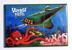 "Vintage VOYAGE TO THE BOTTOM OF THE SEA Lunchbox 2"" x 3"" Fridge MAGNET ART"