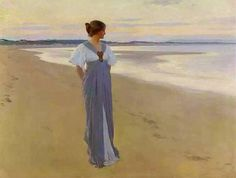'On the Sands.' Painting by William Henry Margetson (1900).