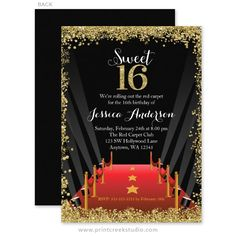 Glamorous gold glitter Hollywood sweet 16 birthday party invitations.