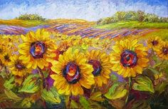 Contemporary Artists of Texas: New Sunflower Field palette knife oil painting by Niki Gulley